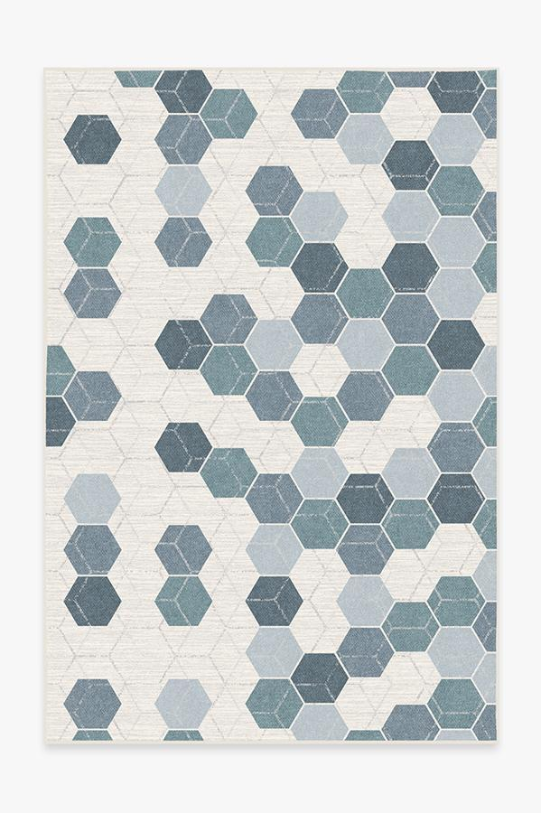 Washable Rug Cover & Pad | Prisma Slate Blue Rug | Stain-Resistant | Ruggable | 6'x9'