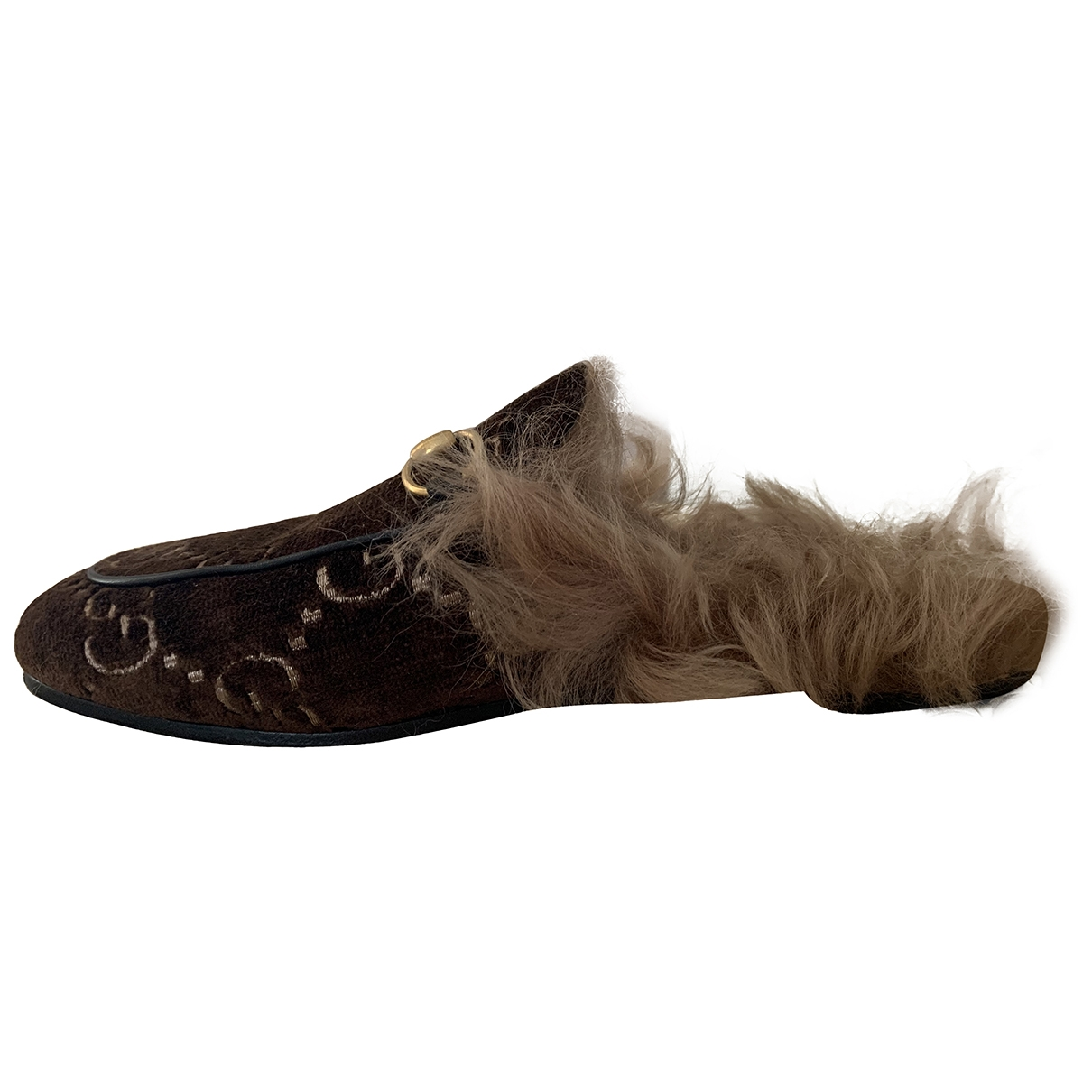 Gucci Princetown Brown Velvet Flats for Women 35 EU