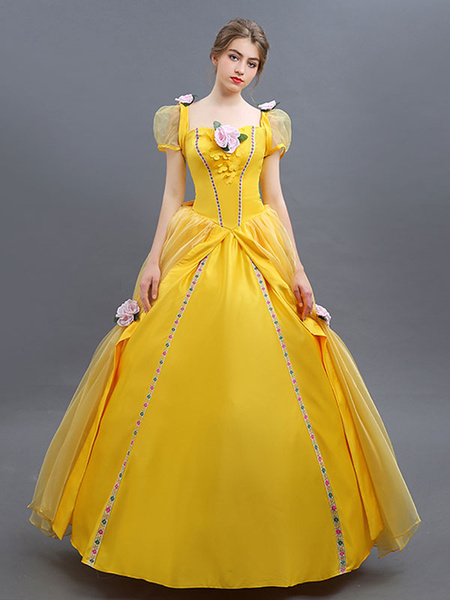 Milanoo Beauty And The Beast Costume 2020 Belle Cosplay Ball Gown Yellow Dress Halloween