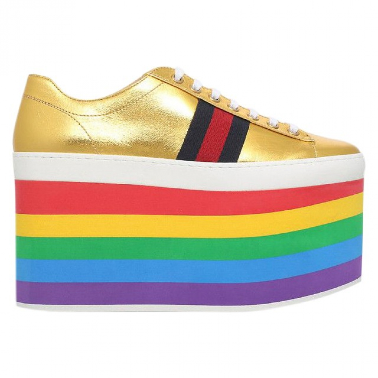 Gucci Peggy Gold Leather Trainers for Women 36 EU