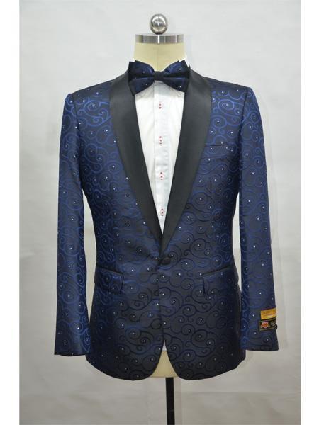 Cheap Mens Printed Flower Jacket Prom modern Tux Navy - Black