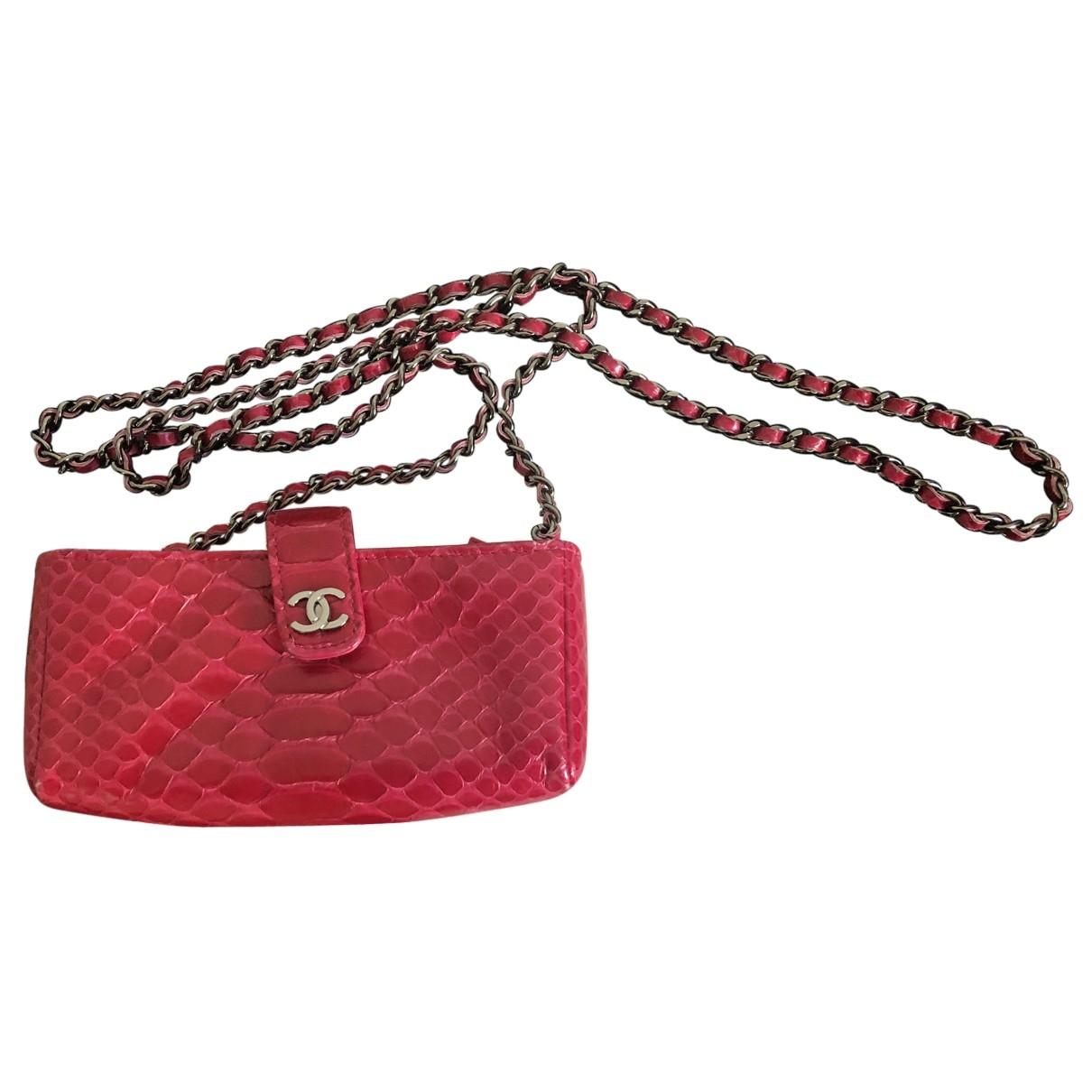 Chanel - Pochette   pour femme en python - rose