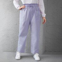 Hose mit doppelten Taschen, Kordelzug und Papiertasche Taille