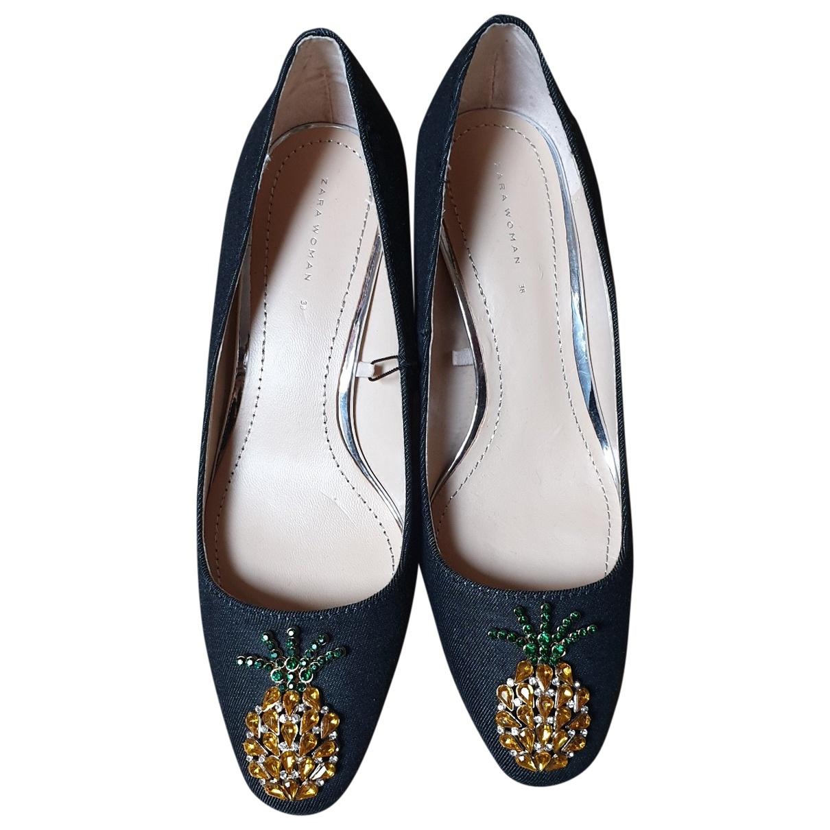 Zara \N Black Cloth Heels for Women 38 EU