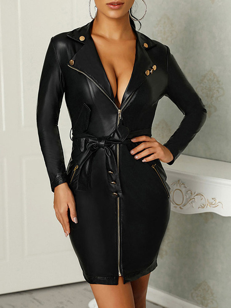 Milanoo Black Bodycon Dress Leather Like Sexy Club Dress