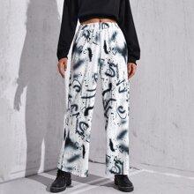 Hose mit Graffiti Muster und breitem Beinschnitt