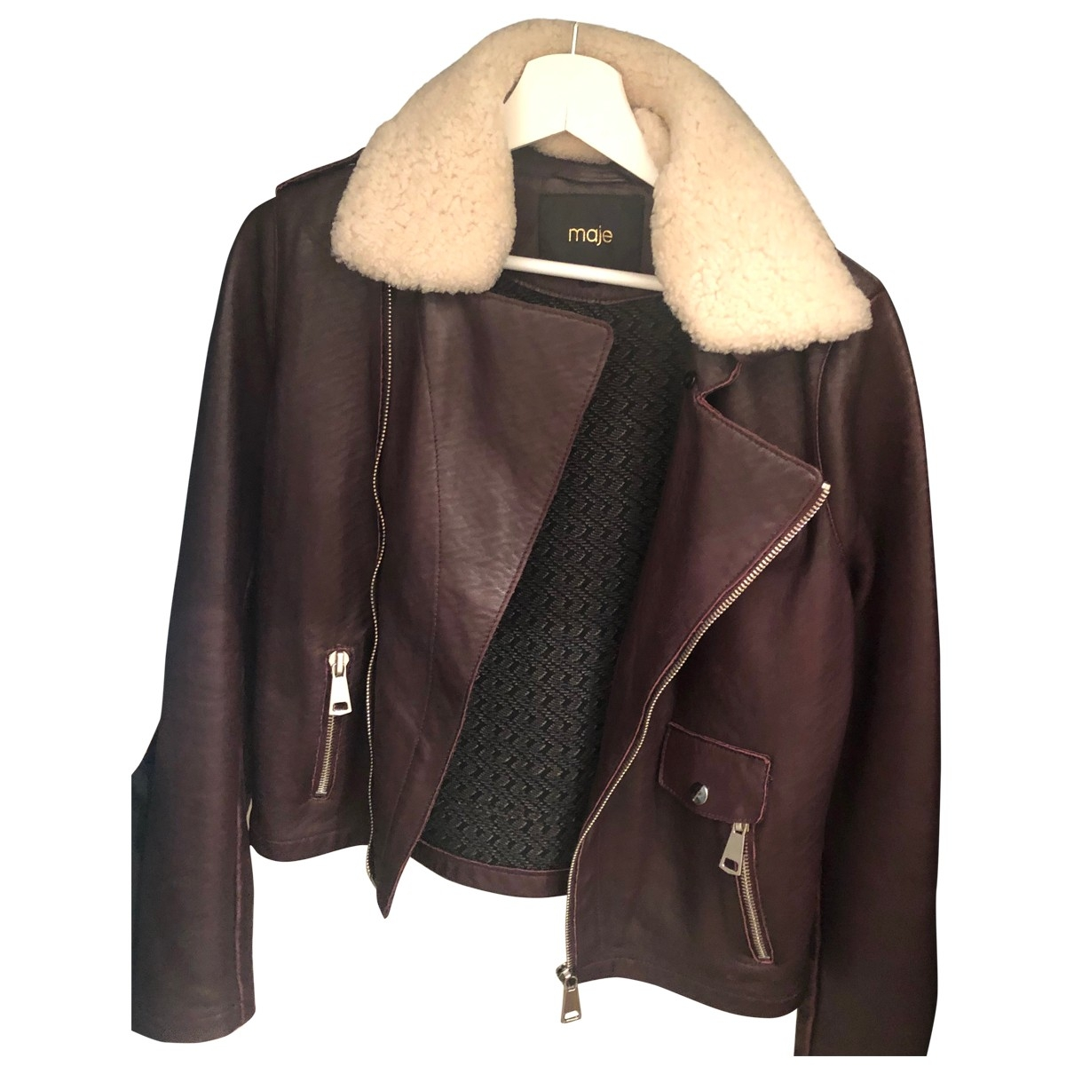 Maje \N Burgundy Leather jacket for Women 40 FR