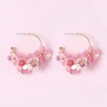 Flower Decor Cuff Hoop Earrings