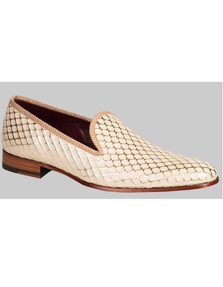 Men's Handmade Diamond Pattern Bone Calfskin Slip On Shoes Brand