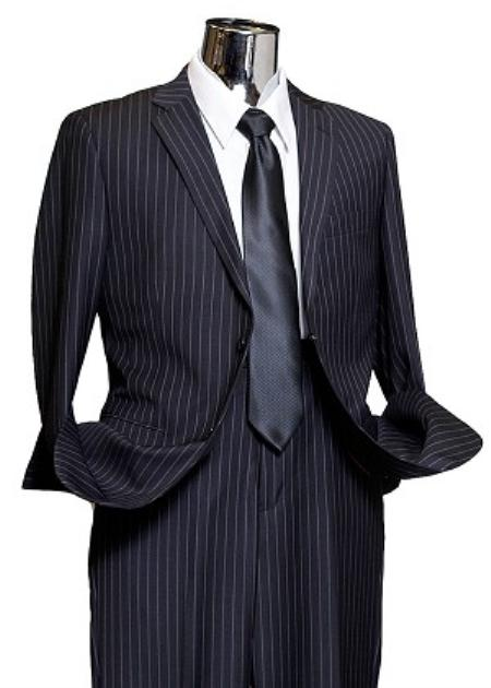 2 Button Navy Wide Pinstripe Suit Mens