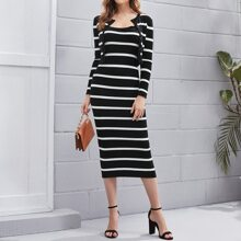 Striped Button Front Cardigan & Dress Sweater Set