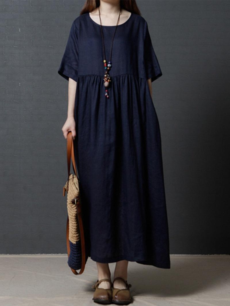 Ericdress Scoop Pullover Plain Women's Casual Dress
