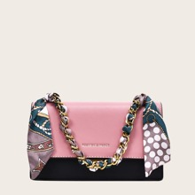Twilly Scarf Decor Chain Handle Two Tone Satchel Bag