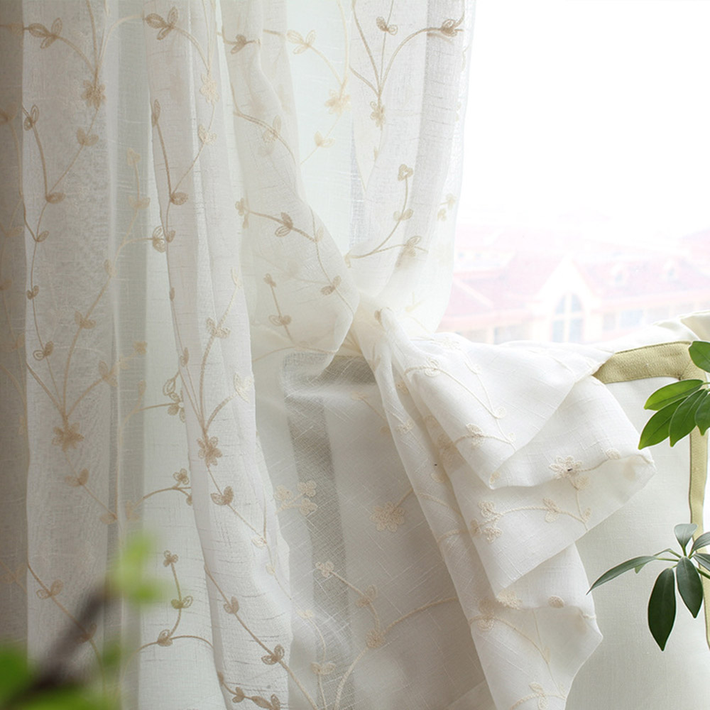 Pastoral Style Embroidered Custom Living Room Sheer Curtains Breathable Voile Drapes Never Fading Cracking Peeling or Flaking