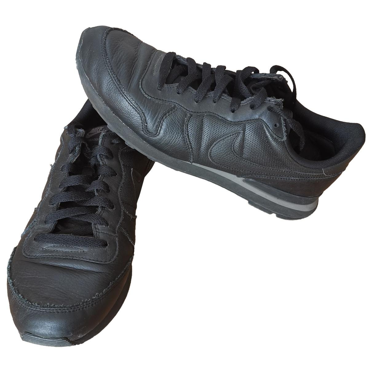 Nike - Baskets Internationalist pour homme en cuir - noir