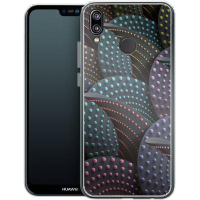 Huawei P20 Lite Silikon Handyhuelle - Green Spiral Pattern von Danny Ivan
