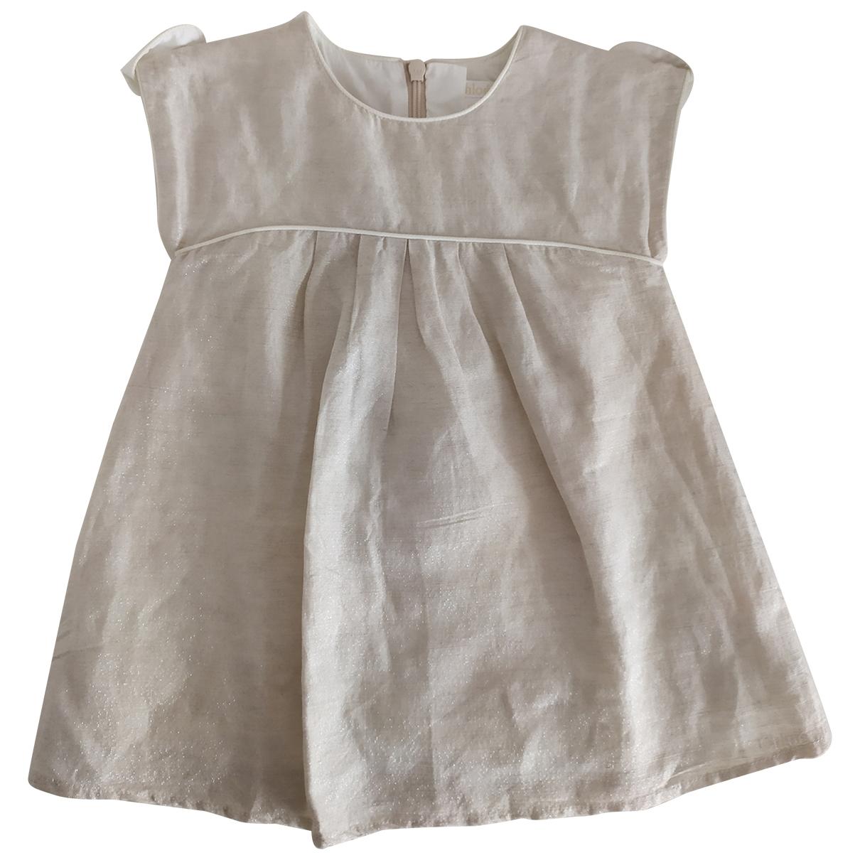 Chloe - Robe    pour enfant en a paillettes - beige