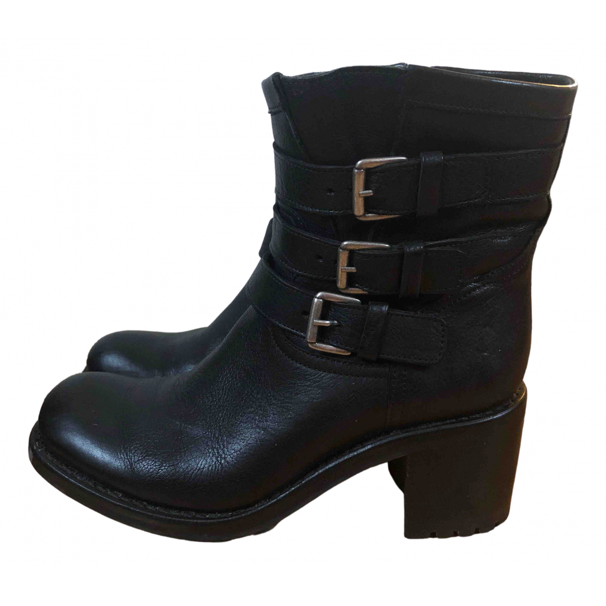 Free Lance Geronimo Black Leather Ankle boots for Women 37.5 EU