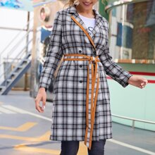 Notched Collar Contrast Trim Self Belted Tartan Pea Coat
