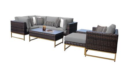 Barcelona BARCELONA-08n-GLD-GREY 8-Piece Patio Set 08n with 3 Corner Chairs  1 Club Chair  1 Armless Chair  1 Ottoman  1 End Table and 1 Coffee Table