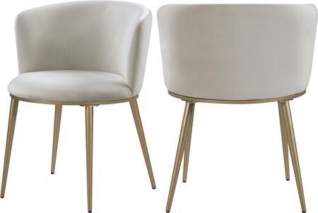 965CREAM-C Skylar Cream Velvet Dining Chair (Set of