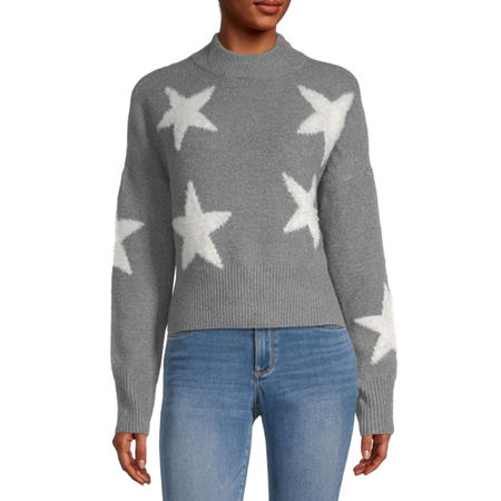 Arizona-Juniors Womens Mock Neck Long Sleeve Star Pullover Sweater, 3x-large , Gray