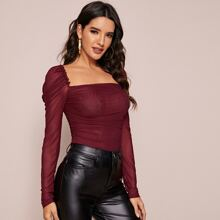 Frill Trim Gigot Sleeve Ruched Mesh Top