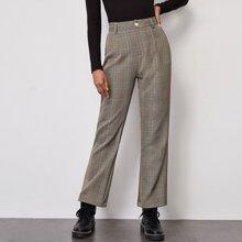 Hose mit Karo Muster und ausgestelltem Beinschnitt