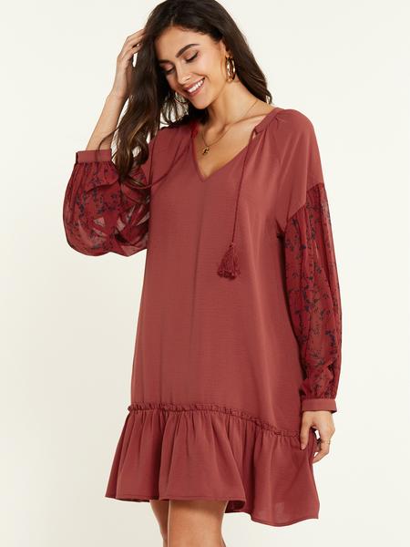 YOINS Rust Lace Patch Design Ruffle Hem Long Sleeves Dress