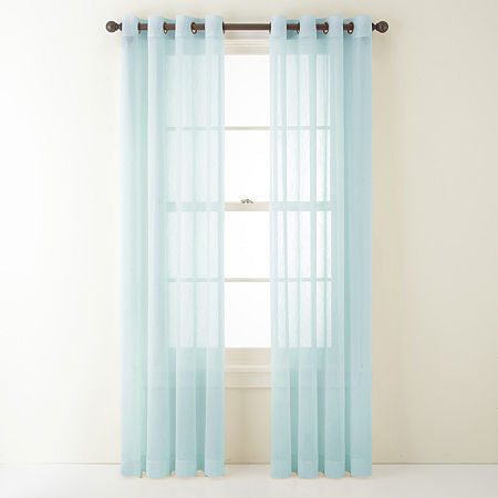 Home Expressions Crushed Voile Sheer Grommet-Top Single Curtain Panel, One Size , Blue