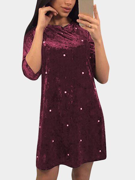 Yoins Burgundy Round Neck Half Sleeves Dress with Beads Design