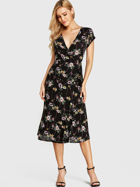 Yoins Black Random Floral Print Crossed Collar Warp Dress