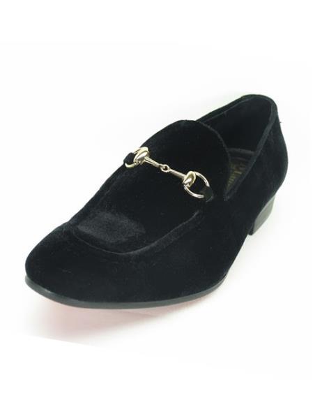 Men's Fashionable Slip On Style Velvet Black Shoes With Buckle