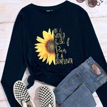 Plus Sunflower And Slogan Graphic Tee