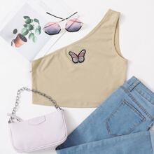 One Shoulder Butterfly Embroidered Crop Top