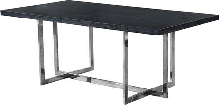 Elle 738-T Chrome Dining Table with Polished Chrome Metal Base  and Charcoal MDF Wood Veneer Top in