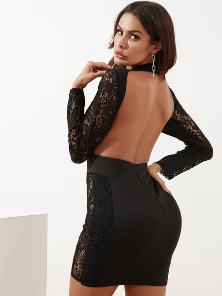 YOINS Black Backless Lace Patchwork Cut Out Hollow Dress