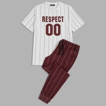 Men Letter Graphic Striped Tee & Pants Set