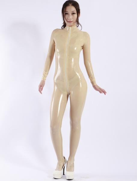 Milanoo Sexy Latex Catsuit with front Zipper Halloween Bodysuit Halloween