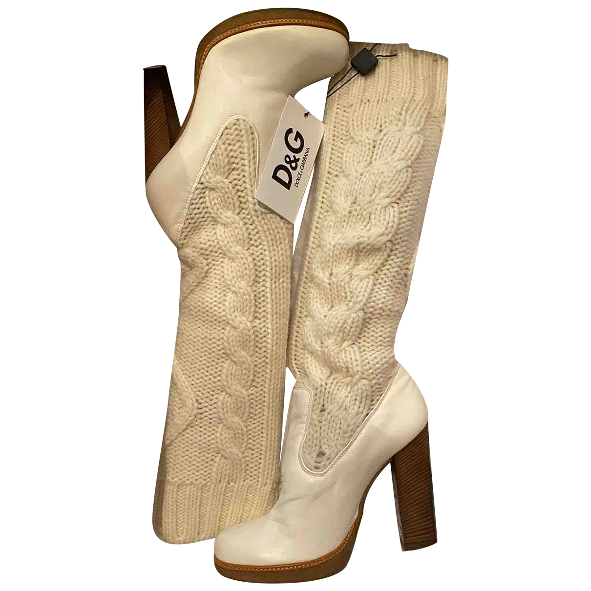D&g \N White Leather Boots for Women 39 IT
