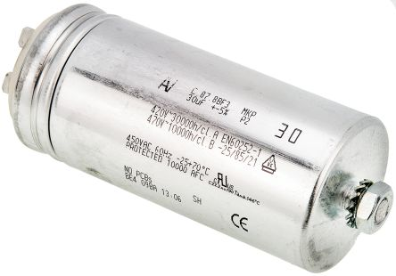 KEMET 30μF Polypropylene Capacitor PP 470V ac ±5% Tolerance Chassis Mount C87 Series