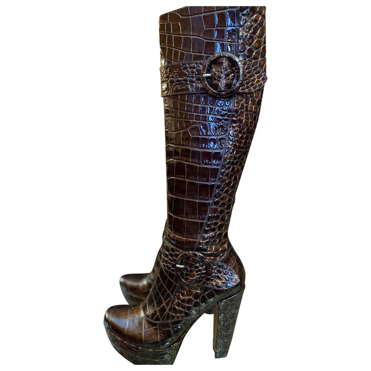 Free Lance - Bottes   pour femme en cuir verni - marron