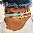 3Pcs Fashion Sunflower Woven Anklet Set