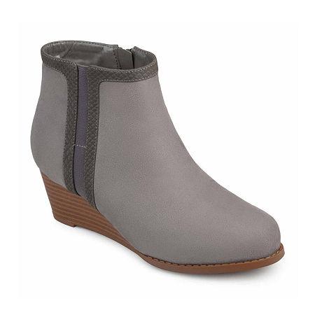 Journee Collection Womens Padme Booties Wedge Heel, 8 Medium, Gray