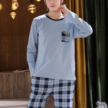 Conjunto de pijama con estampado de cuadros con slogan