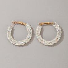 Rhinestone Beaded Hoop Earrings