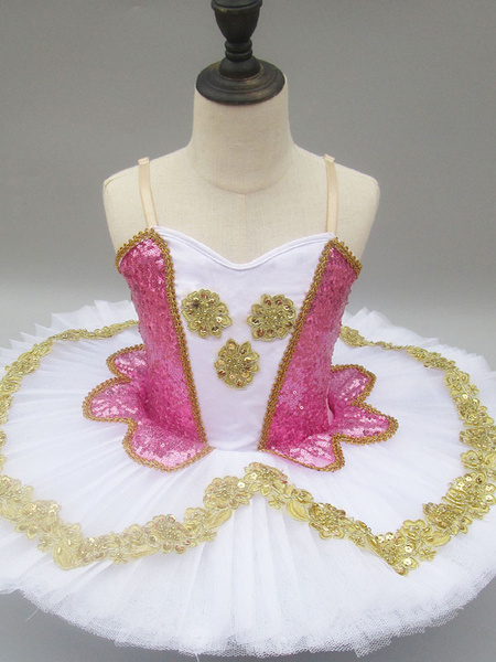 Milanoo Ballet Dance Dress Pink Sequin Straps Dress Girls Tutu Ballerina Dresses