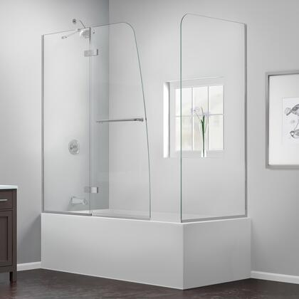 SHDR-3448580-RT-04 Aqua Ultra 57-60 In. W X 30 In. D X 58 In. H Frameless Hinged Tub Door With Return Panel In Brushed