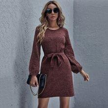 Lantern Sleeve Belted Sweater Dress
