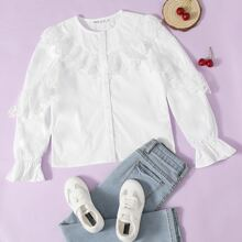 Girls Bell Sleeve Embroidered Mesh Trim Blouse
